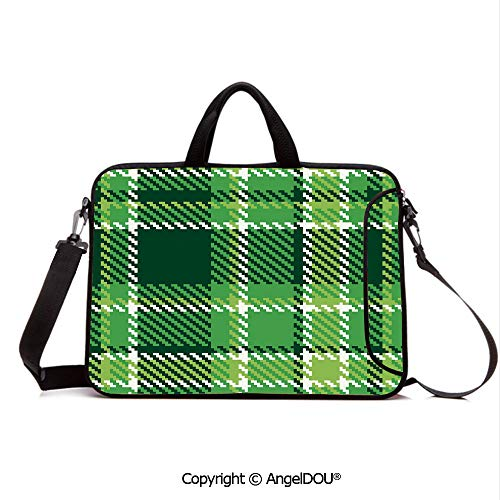 AngelDOU Portable Ultrabook Soft Sleeve Laptop Bag Case Cover Old Fashioned Irish British Tile Mosaic in Vibrant Green Colors Decorative Compatible with MacBook Asus Acer HP Emerald Lime Green White ()
