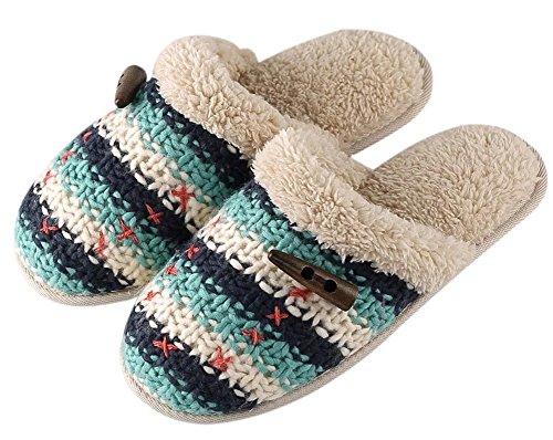 Womens Vintage Style Scuff Slippers Warme En Comfortabele Huisschoenen Blauw