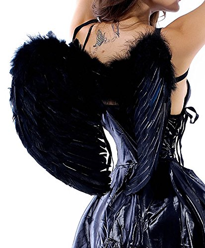 PureBeauty Women's Adult Feather Angel Wings Halloween Costume (Dark) -
