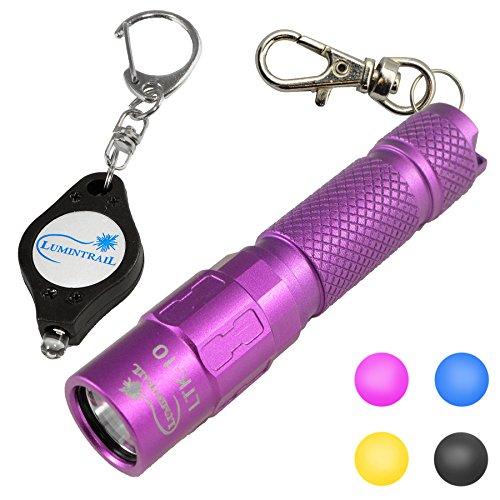 Lumintrail Keychain Flashlight 130 Lumen LED, Magnetic Tail, Reversible Pocket Clip, and free Bonus Light (Purple) ()