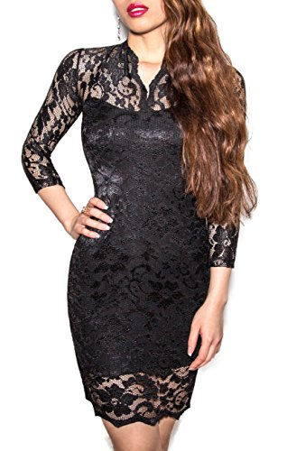 SODACODA Lace Short Dress - Sexy - 3/4 Sleeve Slim-Fit - V-neck - all colours and sizes Black