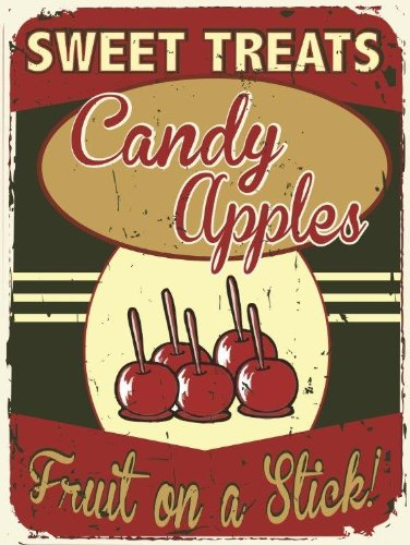 Sweet Treats Candy Apples Metal Sign, Fall, Winter Holiday Treats,