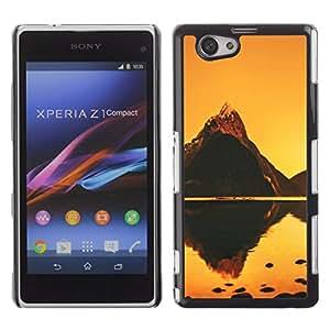 // PHONE CASE GIFT // Duro Estuche protector PC Cáscara Plástico Carcasa Funda Hard Protective Case for Xperia Z1 Compact D5503 / Naranja Mountain Lake /