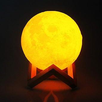 lampara de luna 3D Luz nocturna nocturna, cálida y fría, dos ...
