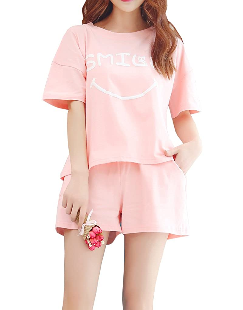 Vopmocld Big Girls Smilling Face Pajama Sets Short Sleeve Sleepwear 7-16 Years