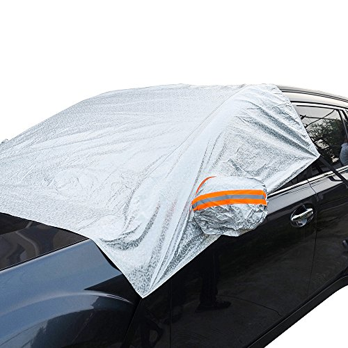 (MARKSIGN Windshield Sun Shade, Car Sun Shade Fits Most Vehicles, 4-layer Ultra Durable and UV Reflective Fabric, Covers Whole Windshield, Front Windows and Rear Mirrors)