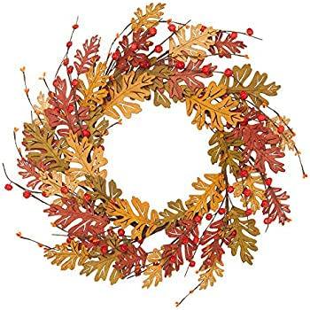 VGIA 18 Inch Fall Wreath with Golden and Red Wooden Leaves  Front Door Decor Wreath Autumn Decor
