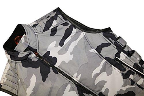 Tan / Textil Bikerweste in schwarz / weiß, Reißverschluss vorne, beiderseitig drei verstellbare Klettverschlüsse