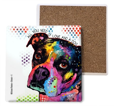 SJT ENTERPRISES, INC. Boxer All You Need is Love and a Dog Absorbent Stone Coasters, 4-inch (4-Pack) Features The Artwork of Dean Russo (SJT07007)