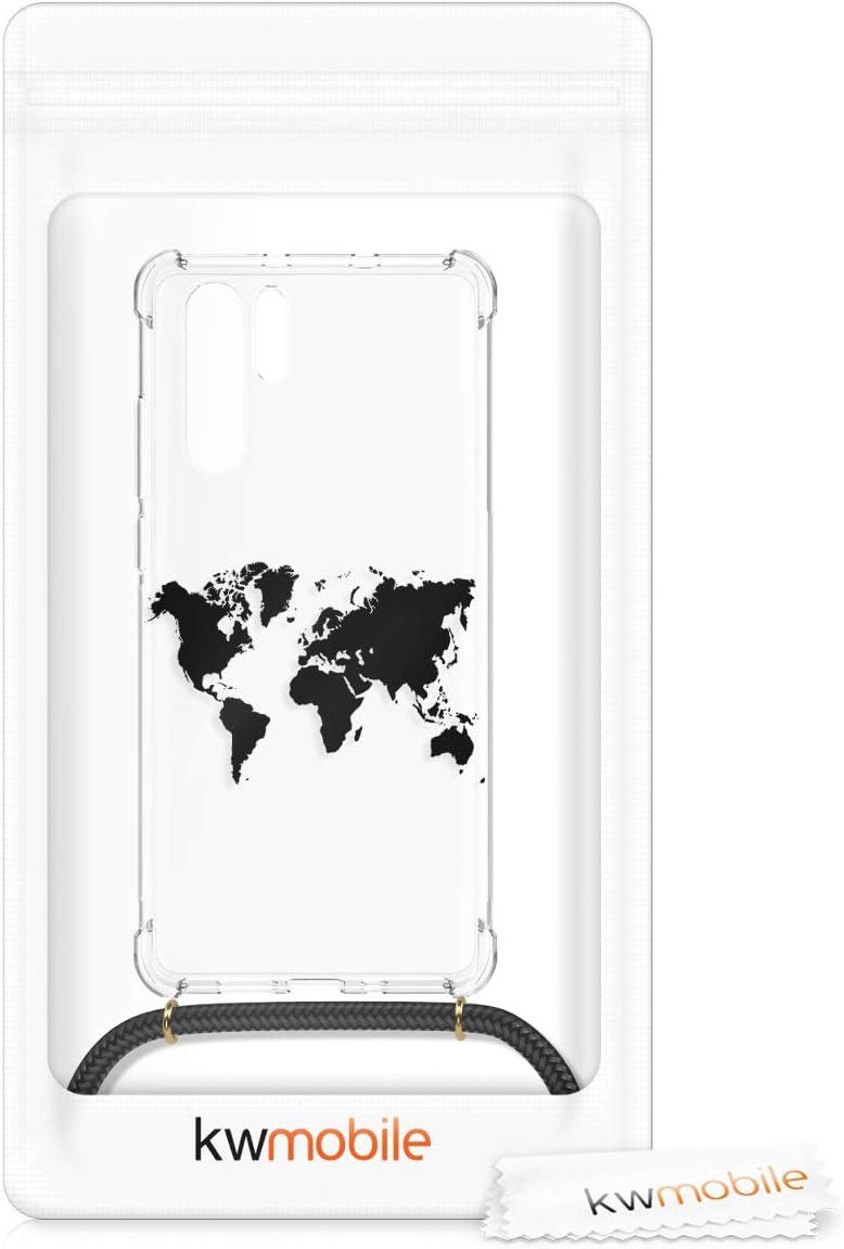 Housse de Protection Souple en Silicone avec Collier kwmobile Coque Compatible avec Huawei P30 Pro Tour du Monde Noir-Transparent