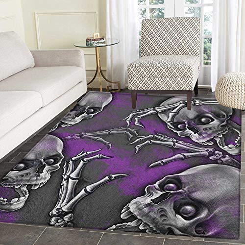 Skull Non Slip Rugs Scary Creepy Spooky Happy Smiling Skeleton with Boned Hand Artwork Print Door Mats for Inside Non Slip Backing 5'x6' Purple Grey and Black ()