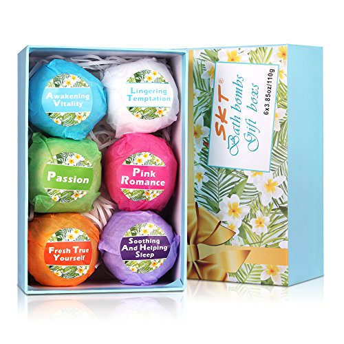 Bath Bombs Gift Set - Organic and Natural Handmade Bath Bomb with Essential Oil, Moisturize Dry Skin Gift Ideas for Kids, 6 x 3.85 oz