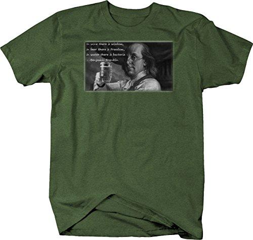 Bold Imprints Retro - Ben Franklin Wine Wisdom Beer Freedom Quote Tshirt - XLarge