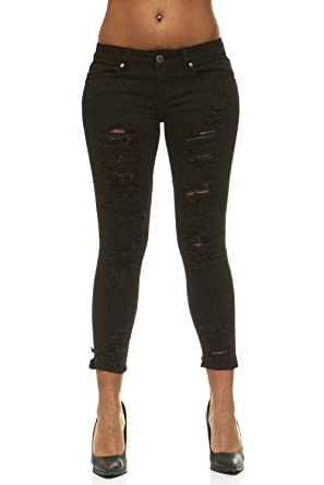 51760a6c3 Ripped Jeans for Women Distressed Slits Skinny Jeans for Women Junior Size  1 Solid Black Wash