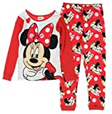 Disney Minnie Mouse Long Sleeve Pajama Sleepwear Little Girls' Red Tight Fit