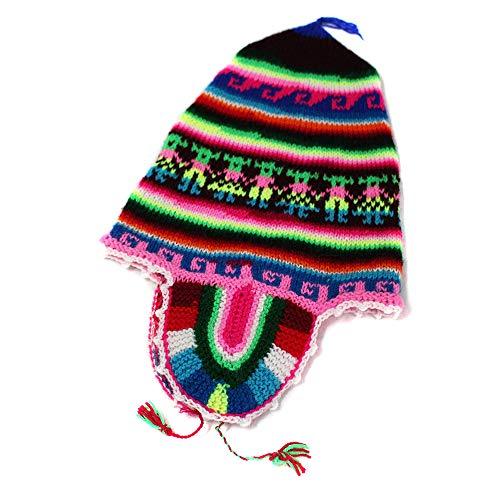 - CHULLO Alpaca wool made in PERU design INCAS Brown dsg12
