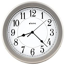 8.5 inch Brushed Metal Water Resistant Wall clock, Special for Small Space, Office, Boats, RV (W86006 Brushed Chrome)