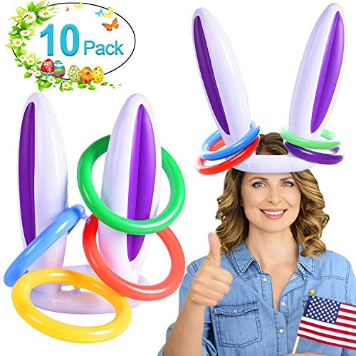 Easter Inflatables Bunny Ears Ring Toss Game, 2 Pack Rabbit Ears Hat with 8 Ring, Easter Party Favors Supplies for Kids Adults Indoor Outdoor Games