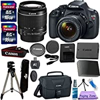 Canon EOS Rebel T5 DSLR CMOS Digital SLR Camera and DIGIC Imaging with EF-S 18-55mm f/3.5-5.6 IS Lens PZ Exclusive Camera Bundle with Original Canon Carrying Case + 57