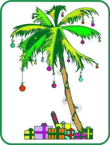 フロリダPalm Treeクリスマス – エッチングビニールStained Glass Film , Static Cling Window Decal 26 in x 41 in 4328273079 B006G6XXPQ  26 in x 41 in