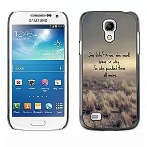 TECHCASE**Cubierta de la caja de protección la piel dura para el ** Samsung Galaxy S4 Mini i9190 MINI VERSION! ** Poem Leave Stay Love Funny Desert Nature
