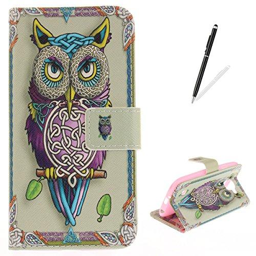 (LG K3 (2017) Case,LG K3 (2017) Flip Wallet Case KaseHom [with Free Stylus Pen] Shockproof Folio Magnetic Premium Leather Cover Kickstand Card Slot Classic Art Owl Totem Design Holster )