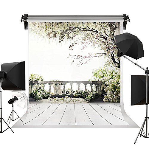 Kate 5x7ft/1.5x2.2m Digital Photography Backdrops Brick Floor White Flowers Background Natural Scenery for Wedding Photo Studio Props