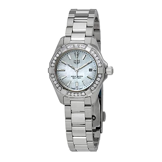 BA0741 - Reloj de pulsera para mujer con esfera de nácar y diamantes blancos: Amazon.es: Relojes