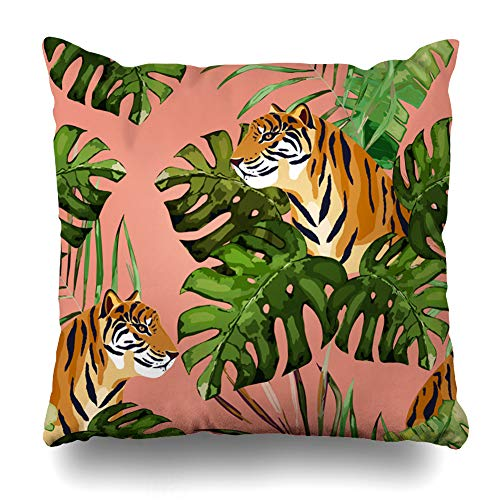 (WAYATO Pillow Case Cotton Polyester Blend Throw Pillow Covers Summer Tropical Print with Tiger and Palm Leaves Bed Home Decor Cushion Cover 18 x 18 Inch)