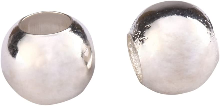500Pcs Silver Plated Smooth Round Ball Copper Crimp Beads Charms 2.5mm