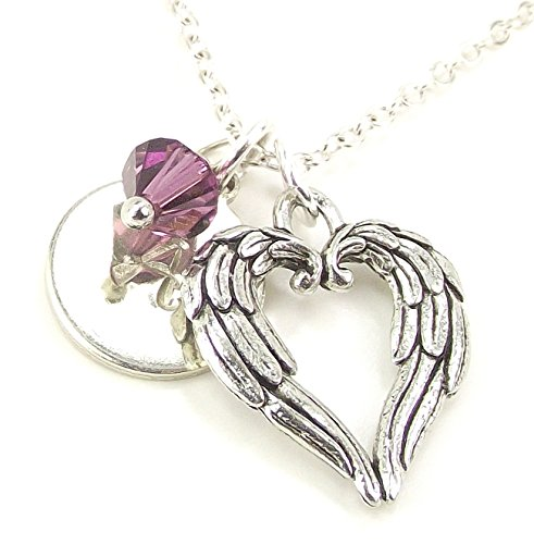 - LaFenne Personalized Double Angel Wing Heart Initial Necklace with Swarovski Birth Month Crystal Custom Letter