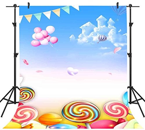 FH 5x7ft Lollipop Backdrop Blue Sky Dream Castle Balloon Fairy Tale Photography Background Themed Party YouTube Backdrops Wallpaper Photo Booth Studio Props (Fairy Tale Themed Halloween Party)