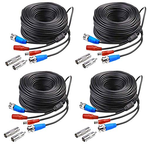 4 Pack 100ft 30m All-in-One BNC Video and Power Cable for Security Camera DVR System SANSCO Video Power Wire BNC RCA Cord Extension for CCTV DVR Surveillance System Including BNC RCA Connector – Black