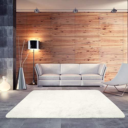 - BlueSnail Super Ultra Soft Modern Shag Area Rugs, Bedroom Livingroom Sittingroom Floor Rug Carpet Blanket for Children Play Home Decorate (4' x 5.3', Rectangle, Beige White)