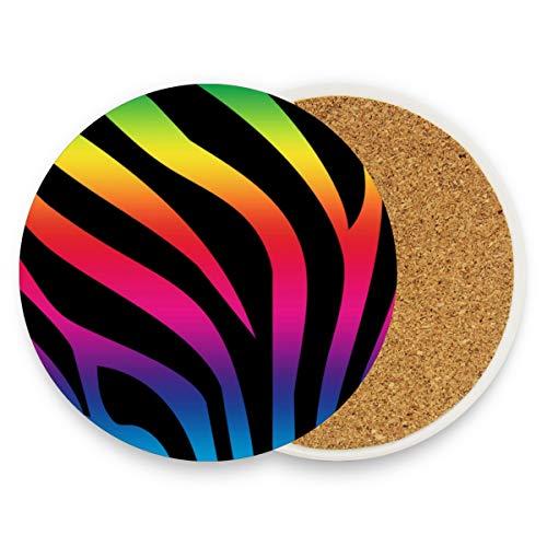 Coasters for Drinks,Rainbow Zebra Fur Wallpaper Ceramic Round Cork Trivet Heat Resistant Hot Pads Table Cup Mat Coaster-Set of 4 Pieces