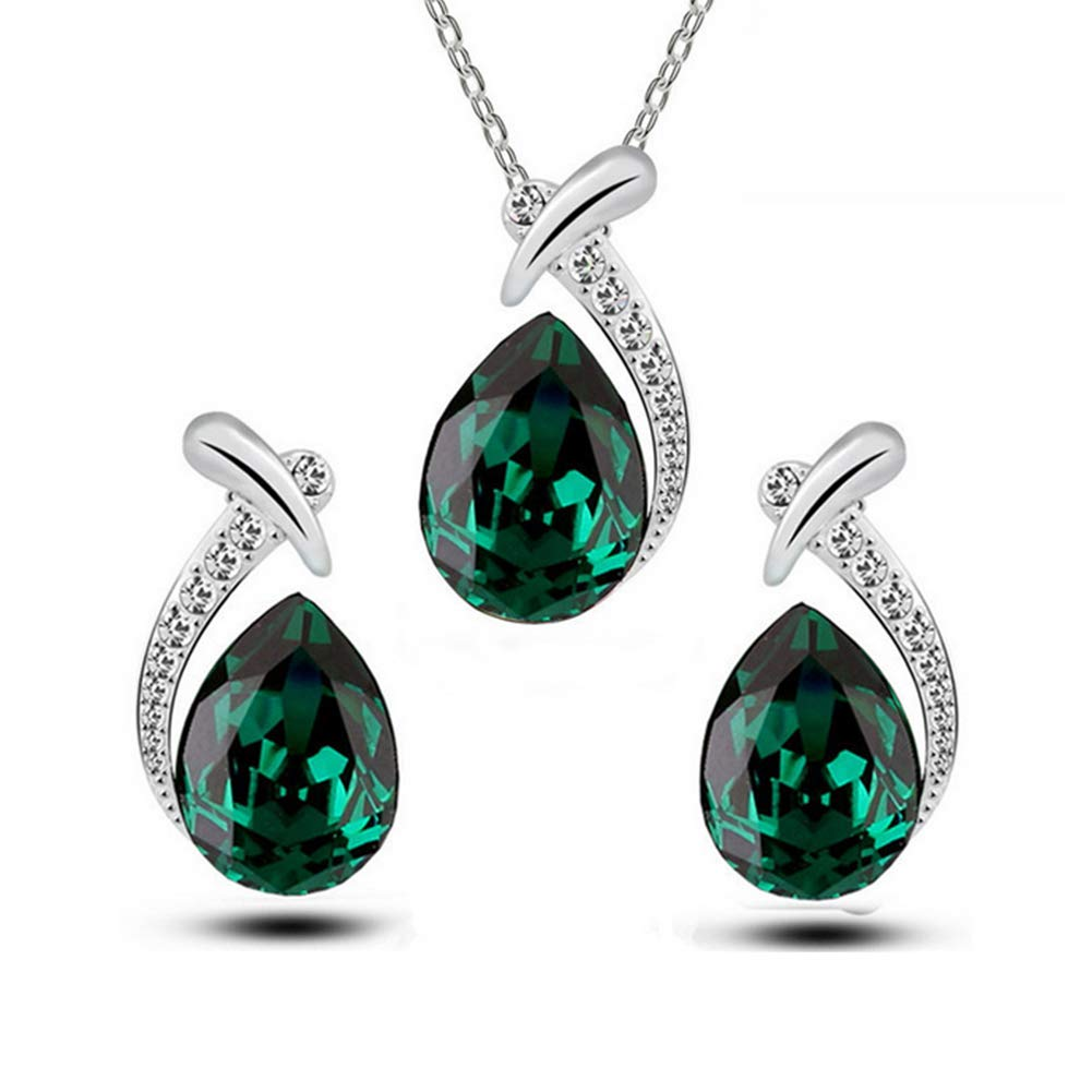 Women Valentine's Elegant Jewelry Set Teardrop Rhinestones Crystal Earrings and Necklace For Weeding Evening Party(Green) Naisidier Adjustable