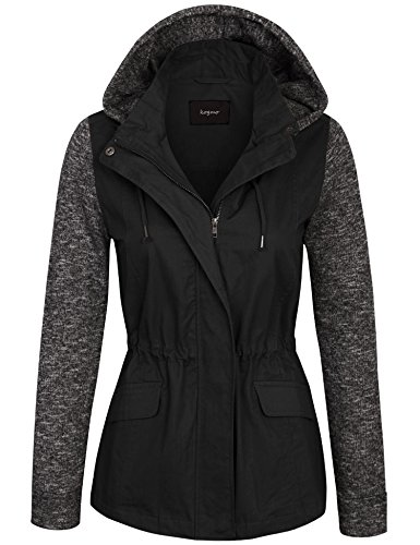 KOGMO Womens Zip Up Anorak Safari Jacket with Knit Hoodie and Sleeve-M-Black