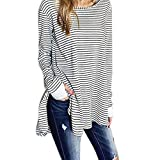 Womens Shirt,FUNIC Plus Size Loose Pullover Top Long Sleeve Striped Shirt Tops Blouse (XL, White)