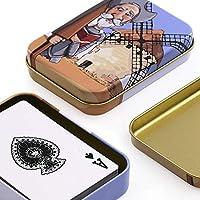 PracticDomus Set de 2 Barajas de Cartas de Póker en Estuche Metálico, Diseño de Giordano di Ponzano. Colección Quijote: Amazon.es: Juguetes y juegos