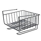 Leegoal Under Shelf Basket, Under Cabinet Storage Shelf Wire Basket Organizer Fit Dual Hooks for Kitchen/Pantry/Desk/Bookshelf/Cupboard, Premium Anti Rust Stainless Steel Rack, Black