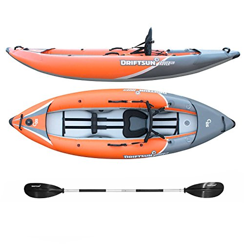 - Driftsun Rover 120 Inflatable White-Water Kayak with High Pressure Floor and EVA Padded Seats with High Back Support, Includes Action Cam Mount, Aluminum Paddles, Pump and More