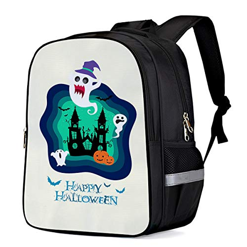 Kids School Backpacks Happy Halloween Blue Cartoon Clip Art Elementary School Bags Lightweight Durable Water-Resistant Student Bookbags - Large]()