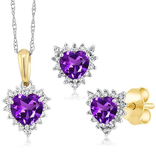 18K Two Tone Gold 1.15 Ct Heart Purple Amethyst and Diamond Pendant Earrings Set by Gem Stone King