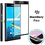 BlackBerry Priv tempered glass screen protector, Feitenn 3D Curved Full Screen film 0.2mm HD Clear Gorilla Glass Protector Film For BlackBerry Priv (Black)