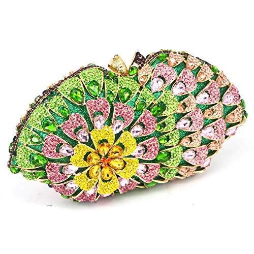 Cristal Motif Belle De pour en De Dames Forme À Mariage De Womens Soirée en KOKR Green De Fleurs Sac Pochette Coquille avec Main 8qOnHw