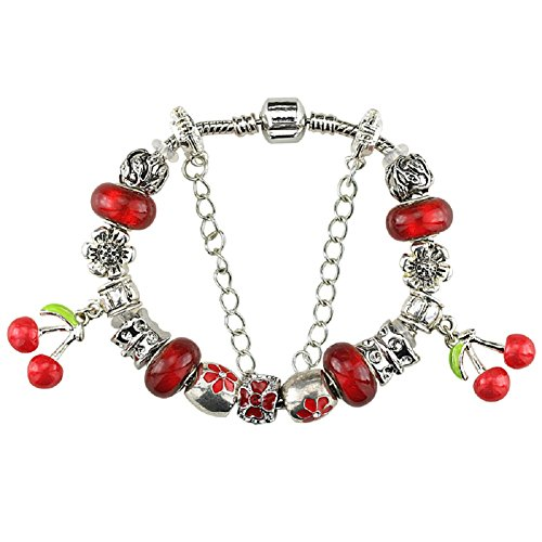 White Birch Charm Bracelets and Charm for Pandora for Women Silver Plated Red Cherry - Sale Co And Uk Tiffany