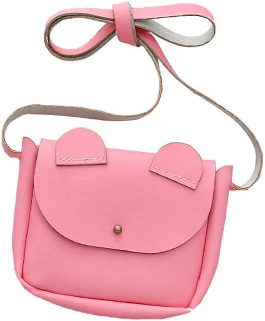 Children Mini Satchel Ear Decoration PU Leather Bag Baby Girl Single Shoulder Bag Pinky Color Coin Bag Rose Red