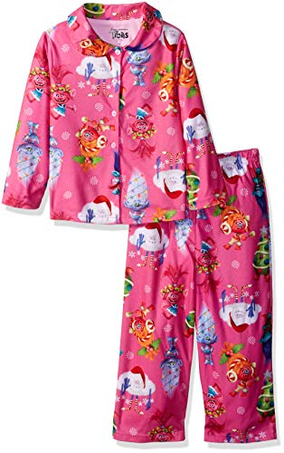 (Dreamworks Girls' Little Trolls 2-Piece Pajama Coat Set, Holiday,)