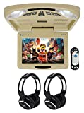 Rockville RVD12HD-BG 12'' Beige Flip Down Car Monitor DVD/USB Player+ Headphones