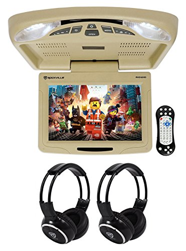 Rockville RVD12HD-BG 12' Beige Flip Down Car Monitor DVD/USB Player+Headphones